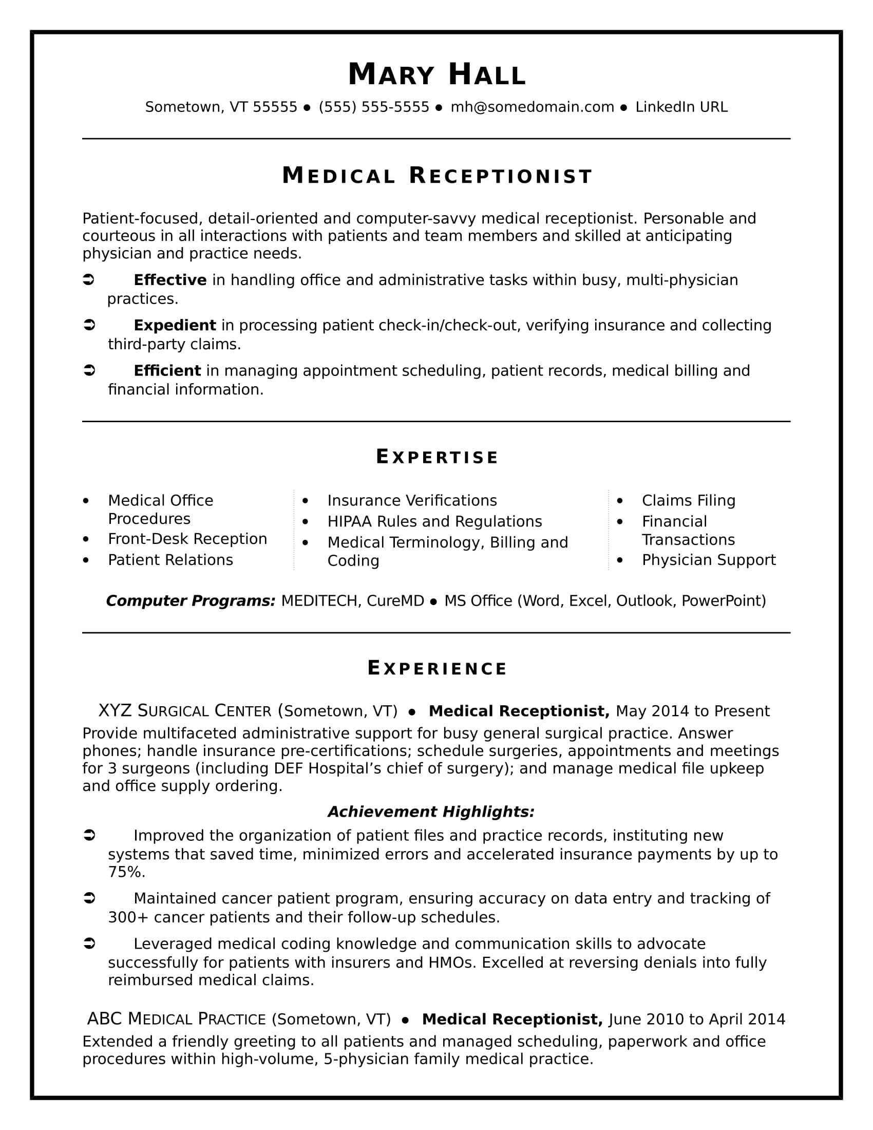 medical receptionist resume sample monster front desk job free templates with photo place Resume Front Desk Job Resume