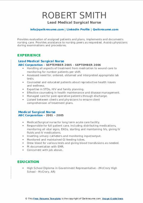 medical surgical nurse resume samples qwikresume pdf technical theatre template free Resume Medical Surgical Nurse Resume