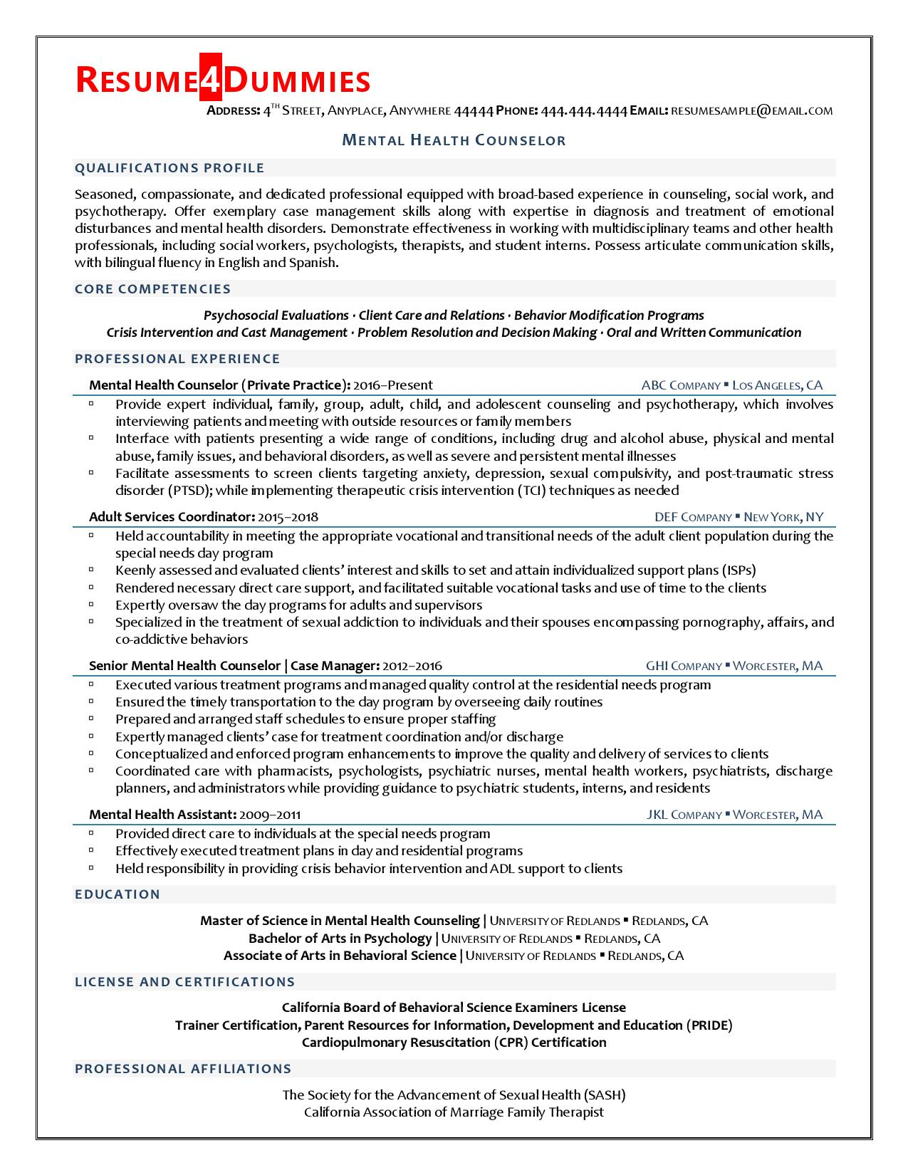 mental health counselor resume example resume4dummies objective for college freshman mba Resume Objective For Mental Health Resume