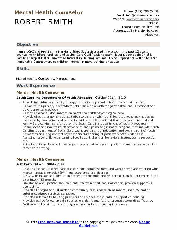 mental health counselor resume samples qwikresume therapist pdf objective for examples Resume Mental Health Therapist Resume