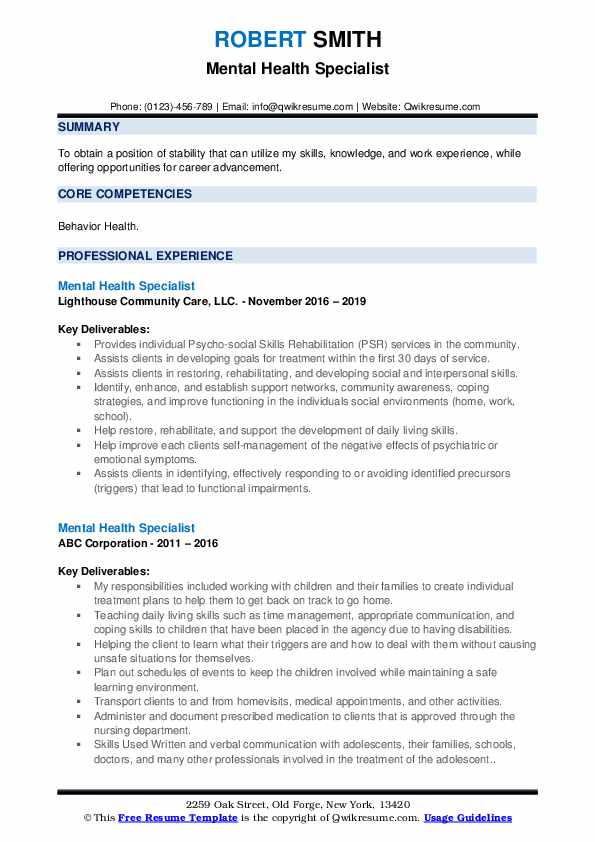 mental health specialist resume samples qwikresume cover letter pdf occupational therapy Resume Mental Health Resume Cover Letter