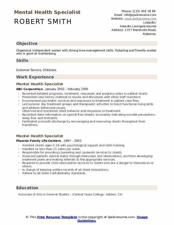 mental health specialist resume samples qwikresume objective for pdf data engineer Resume Objective For Mental Health Resume