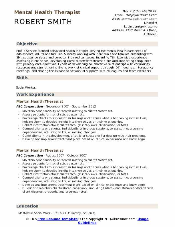 mental health therapist resume samples qwikresume pdf leather portfolio case for research Resume Mental Health Therapist Resume