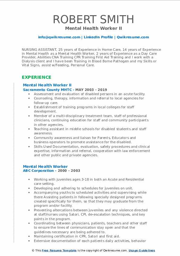 mental health worker resume samples qwikresume objective for pdf auditor example claims Resume Objective For Mental Health Resume