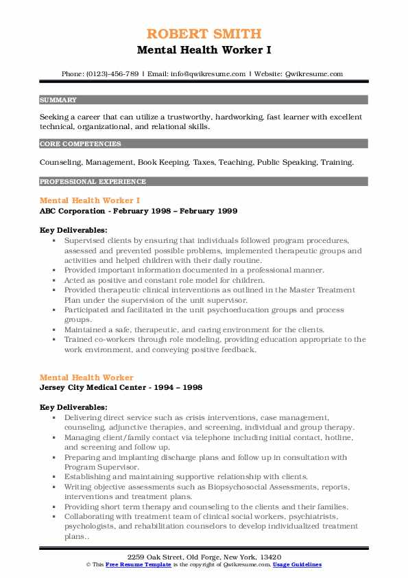 mental health worker resume samples qwikresume objective for pdf traditional example Resume Objective For Mental Health Resume