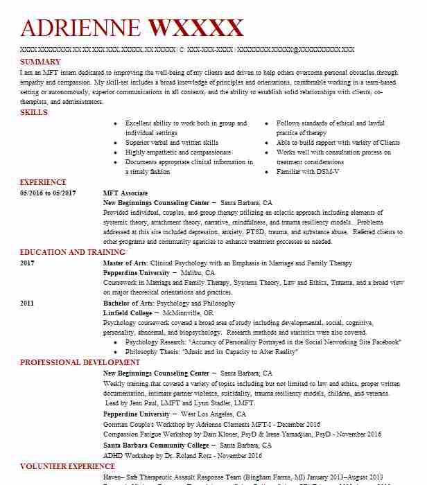 mft associate resume example center for psychotherapy spirituality creativity marriage Resume Marriage And Family Therapist Resume
