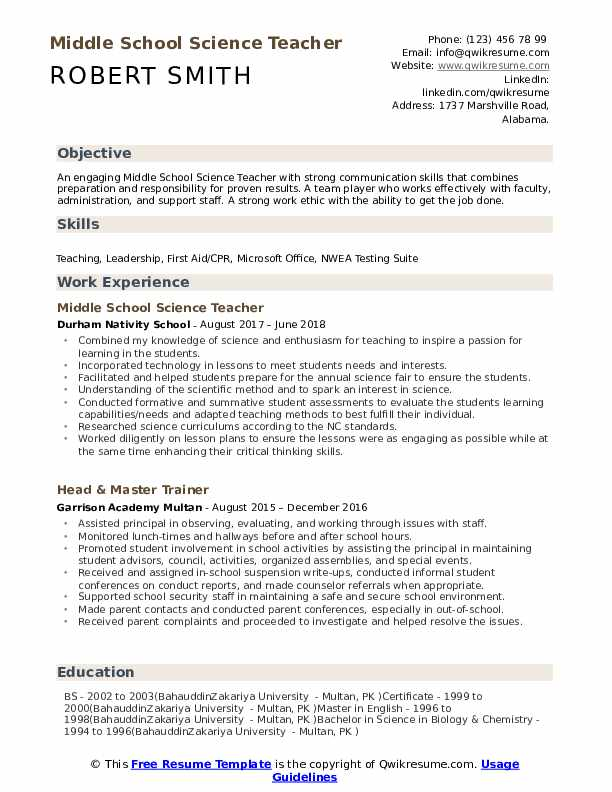 middle school science teacher resume samples qwikresume objective examples pdf completely Resume Teacher Resume Objective Examples