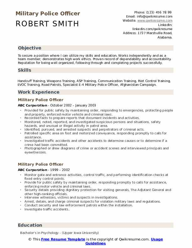 military police officer resume samples qwikresume template pdf outreach sample best Resume Military Resume Template