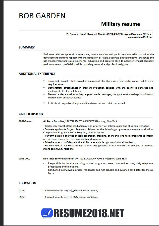 military resume examples template example language skills section outreach sample inside Resume Military Resume Template