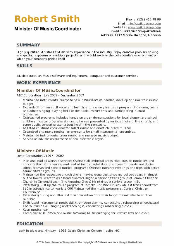 minister of music resume samples qwikresume ministry examples pdf informatica statement Resume Ministry Resume Examples