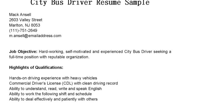 miscellaneous resume examples city bus driver sample format for teacher cashier title on Resume Heavy Bus Driver Resume