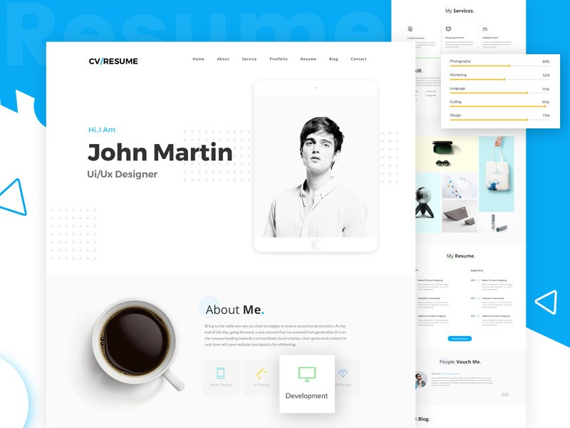 modern and interactive web resume template professional vitae vs current samples masters Resume Interactive Resume Template