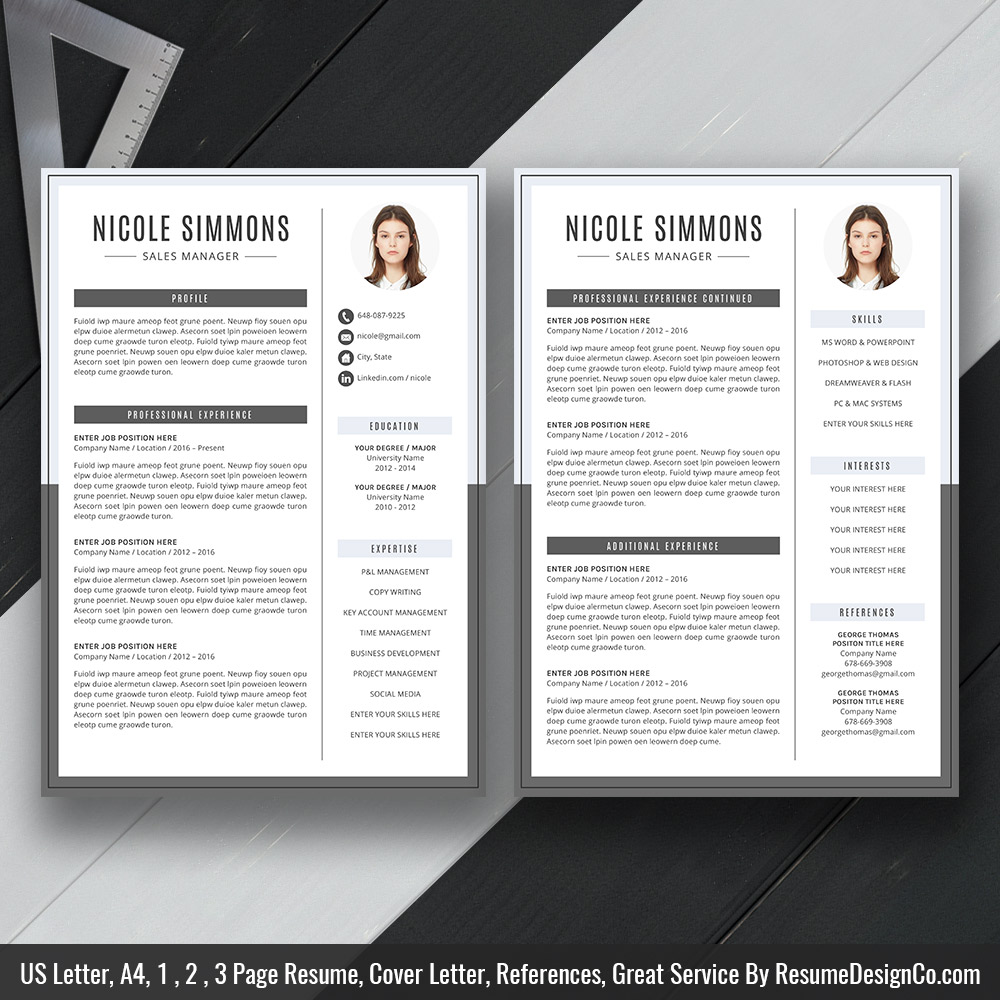 modern and simple resume cv template for ms word curriculum vitae professional format Resume 2 Page Resume Format