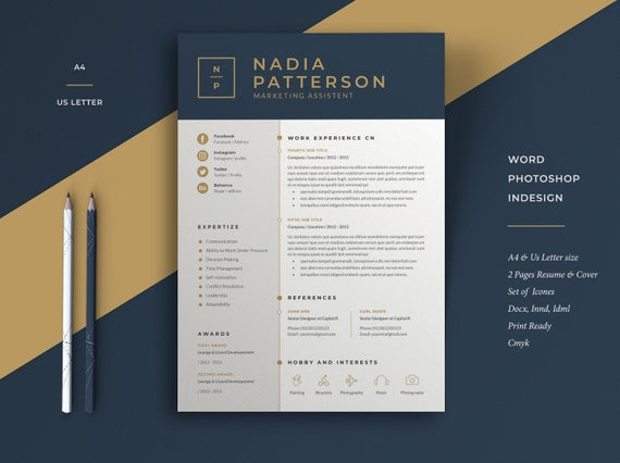 modern resume template cv cover letter etsy professional and creative templates il 570xn Resume Professional And Creative Resume Templates