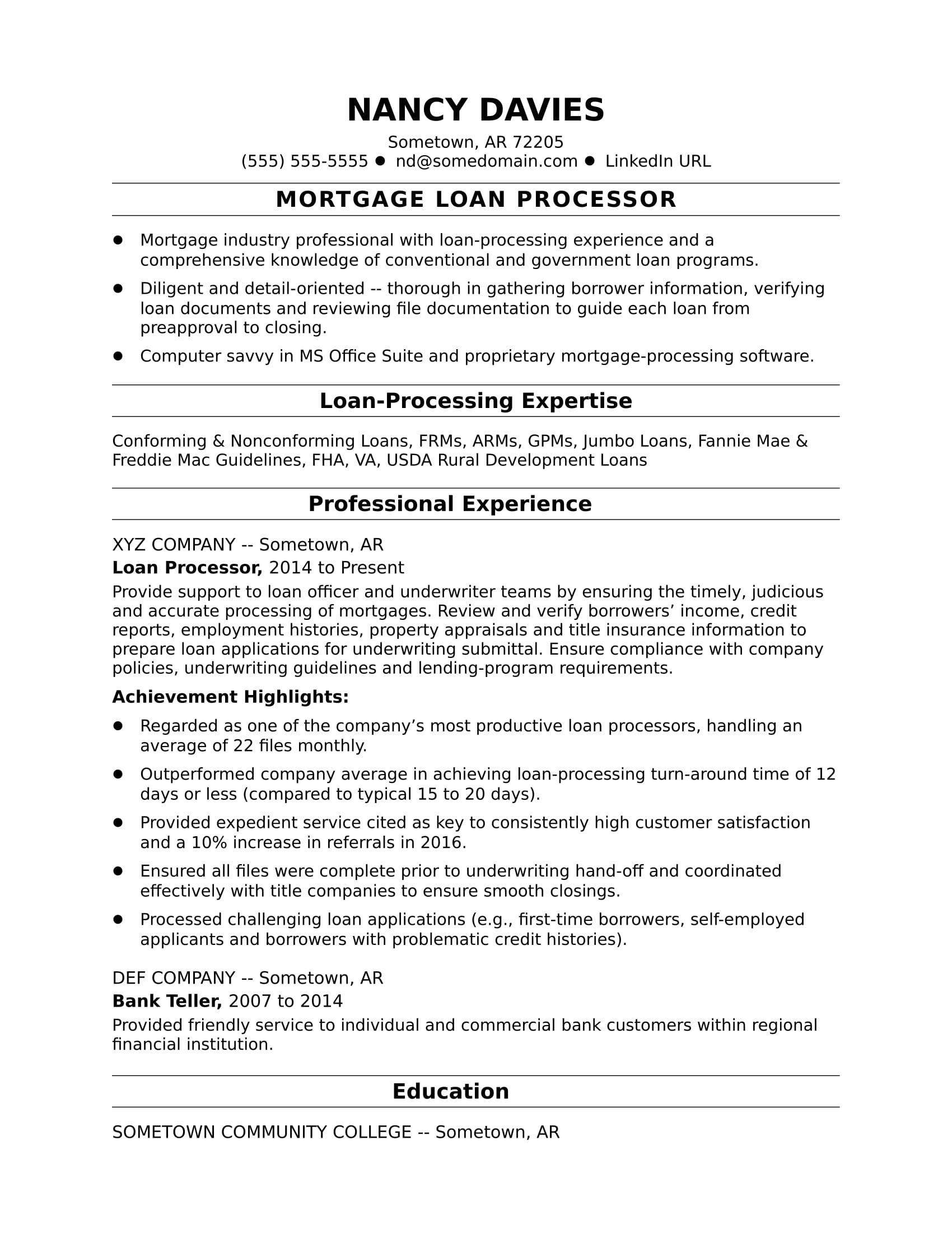 mortgage loan processor resume sample monster for credit officer track and field medical Resume Sample Resume For Credit Officer