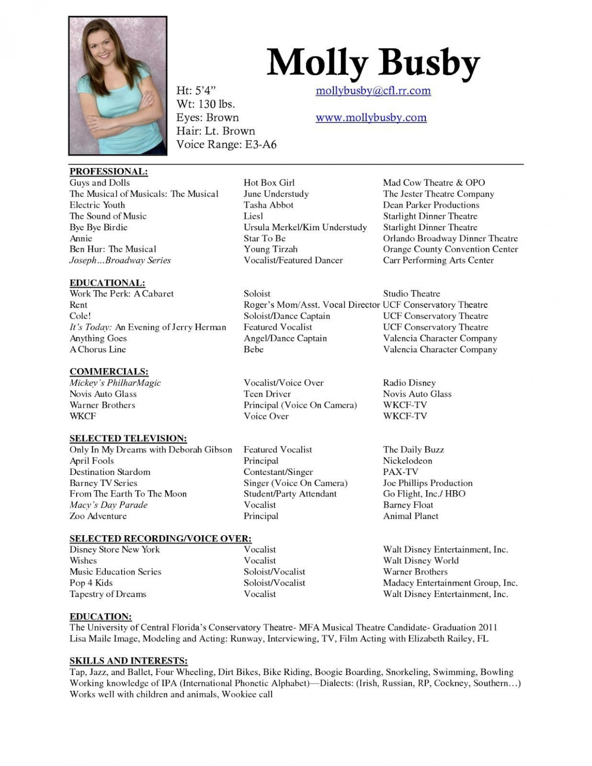 musical theatre resume template addictionary performance top high description of Resume Theatre Performance Resume Template