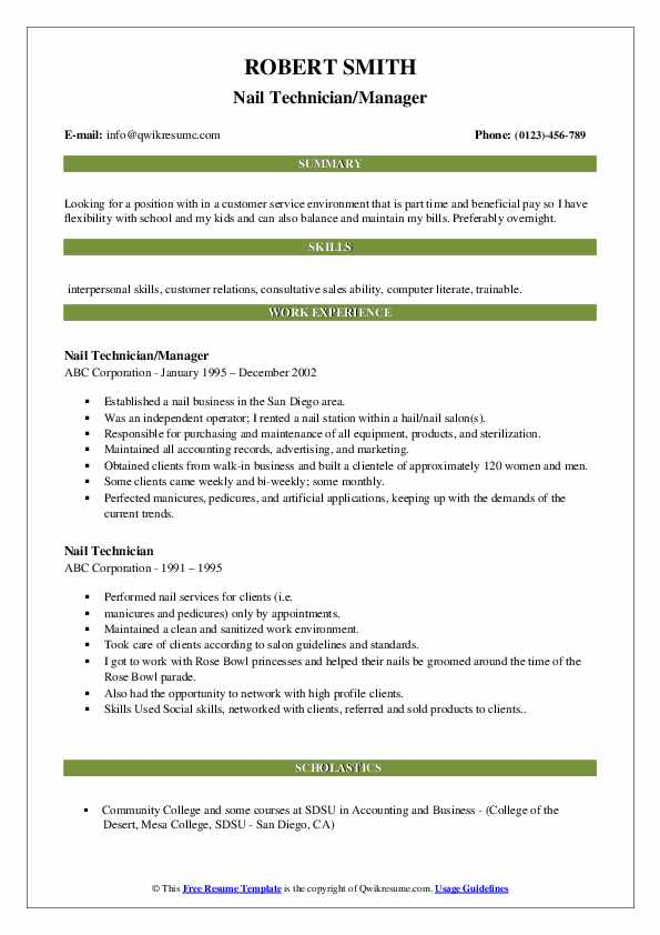 nail technician resume samples qwikresume self employed pdf apartment maintenance job Resume Self Employed Nail Technician Resume