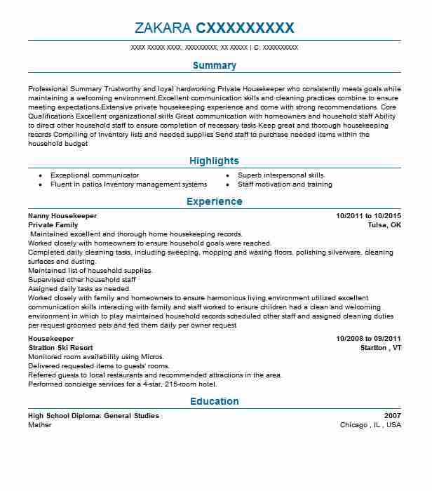 nanny housekeeper resume example resumes livecareer objective for position college Resume Resume Objective For Nanny Position