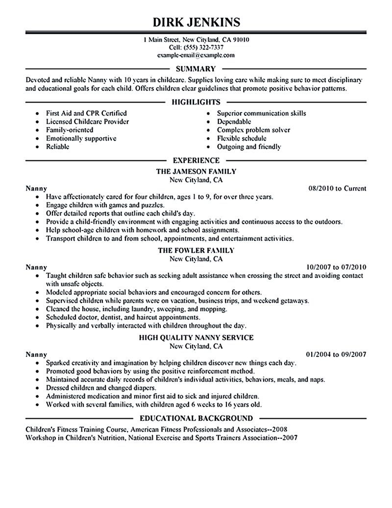 nanny resume example examples sample template for job position home duties student first Resume Resume For Nanny Position