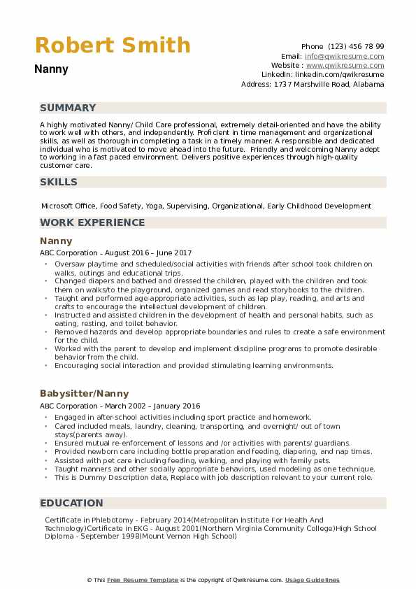 nanny resume samples qwikresume free pdf sample for front desk customer service review Resume Nanny Resume Samples Free