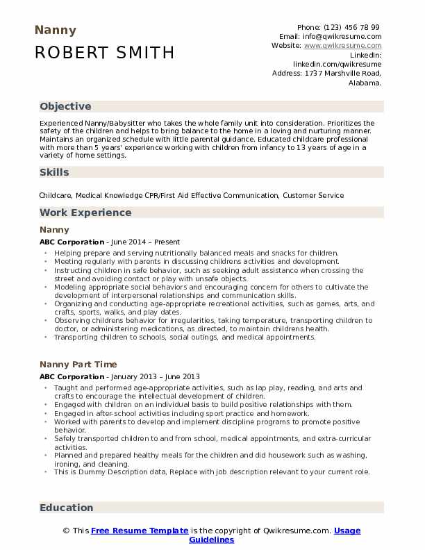nanny resume samples qwikresume objective for position pdf entry level dental assistant Resume Resume Objective For Nanny Position