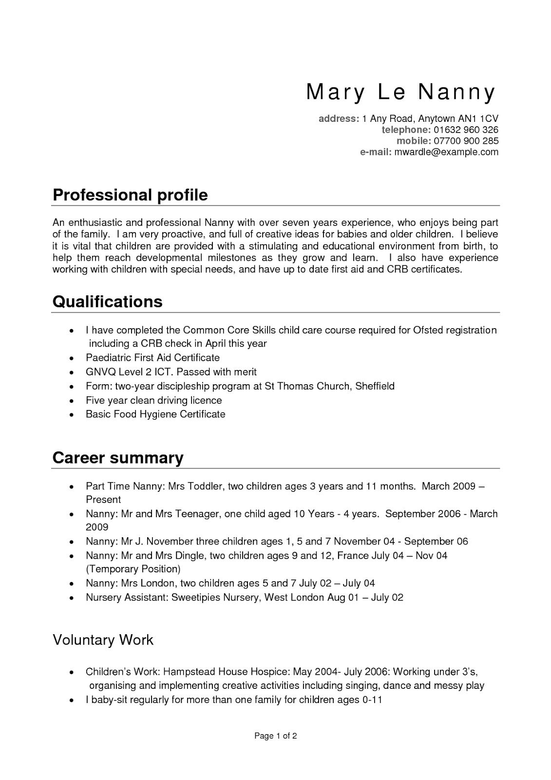 nanny resume templates free template re profile examples samples professional vitae vs Resume Nanny Resume Samples Free