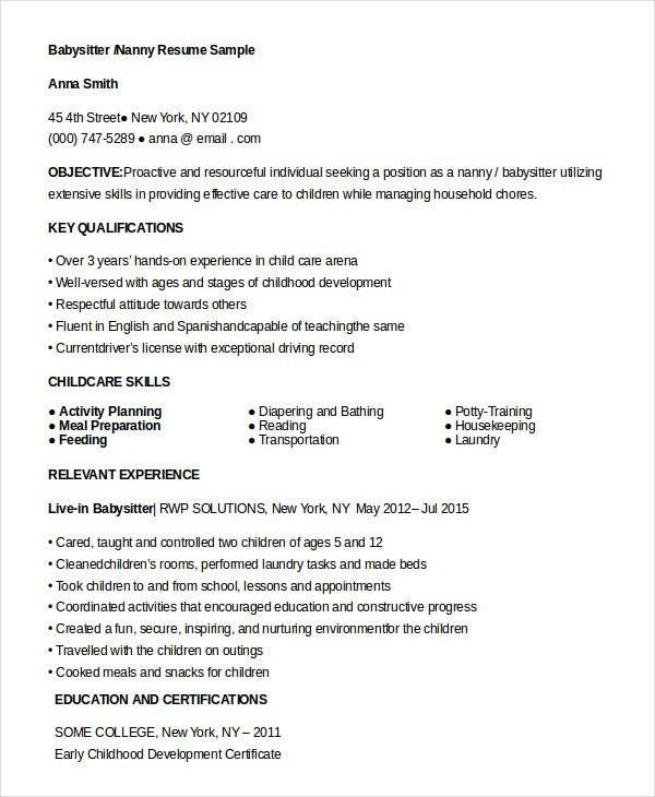 nanny resume templates pdf free premium samples for babysitter lecturer experience Resume Nanny Resume Samples Free