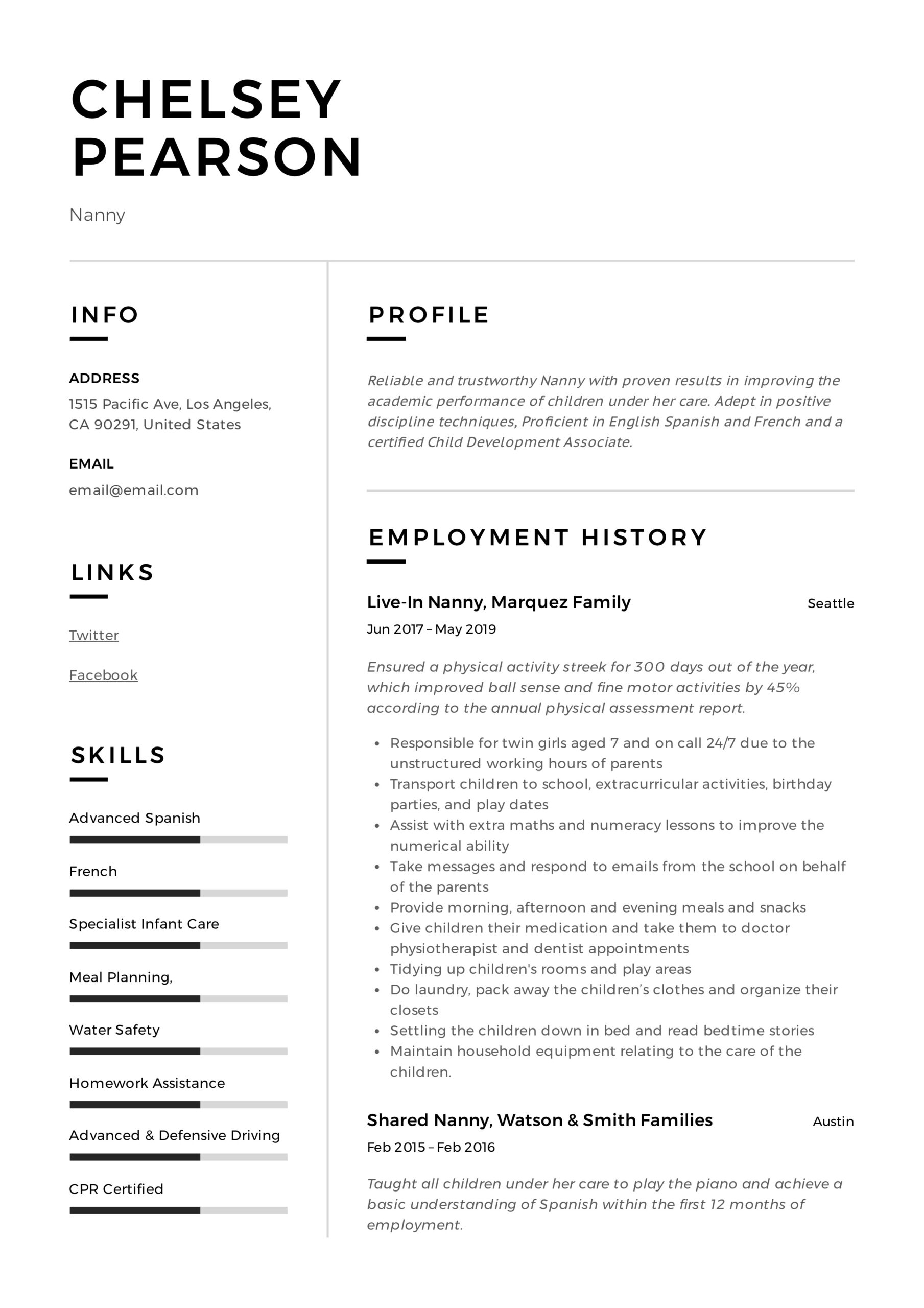 nanny resume writing guide template samples pdf free professional profile examples Resume Nanny Resume Samples Free