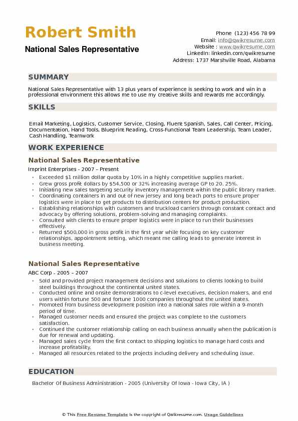 national representative resume samples qwikresume writing for position pdf college Resume Writing A Resume For A Sales Position