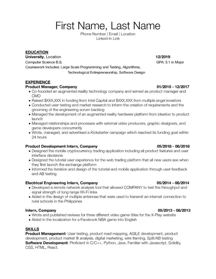 need resume critique for associate junior product manager roles would appreciate any Resume Product Manager Skills Resume