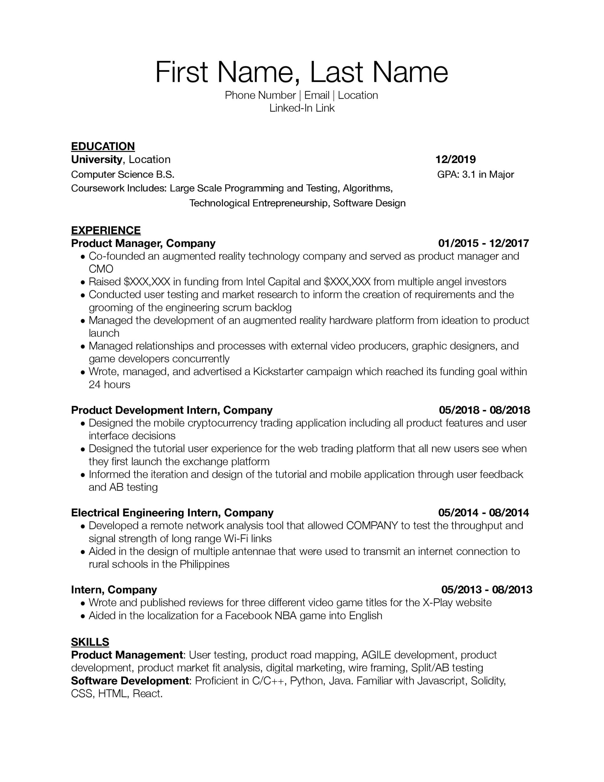 need resume critique for associate junior product manager roles would appreciate any Resume Mobile Product Manager Resume