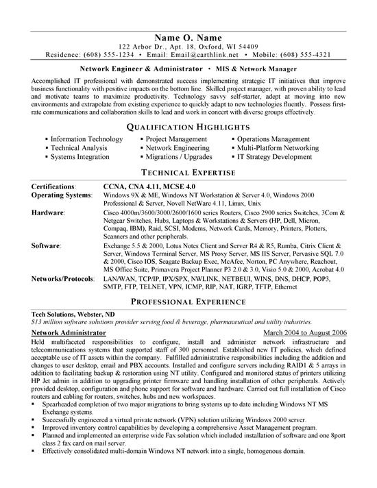 network administrator resume sample job samples examples template visually appealing for Resume Network Administrator Resume Template