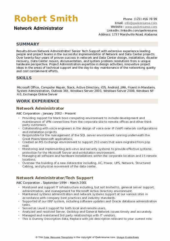 network administrator resume samples qwikresume template pdf solar beginner simple icu Resume Network Administrator Resume Template