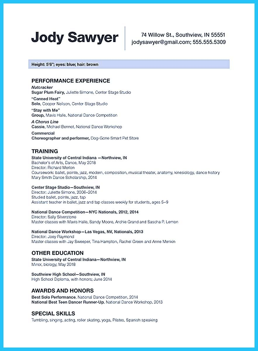 nice the best and impressive dance resume examples collections cover letter college Resume College Dance Resume Template