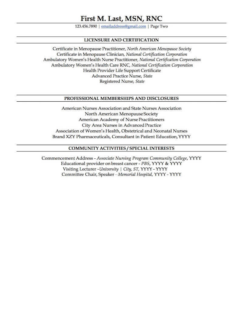 nurse practitioner resume sample professional examples topresume new grad page2 uh Resume New Grad Nurse Practitioner Resume
