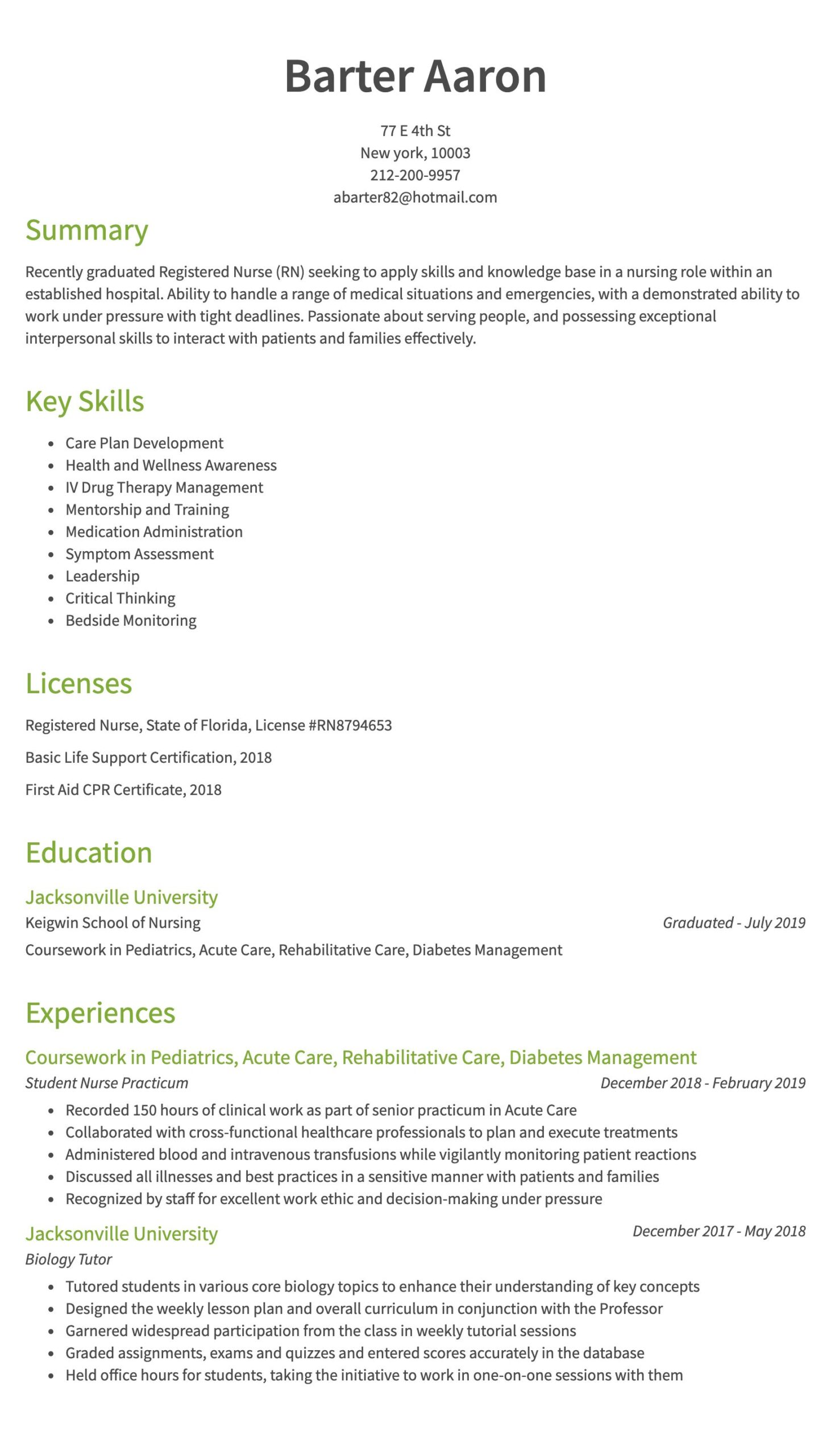 nursing resume examples samples written by rn managers skills for years of exp direct Resume Nursing Skills For Resume