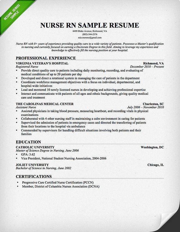 nursing resume sample writing guide genius teacher examples template for jobs best Resume Resume Examples For Nursing Jobs