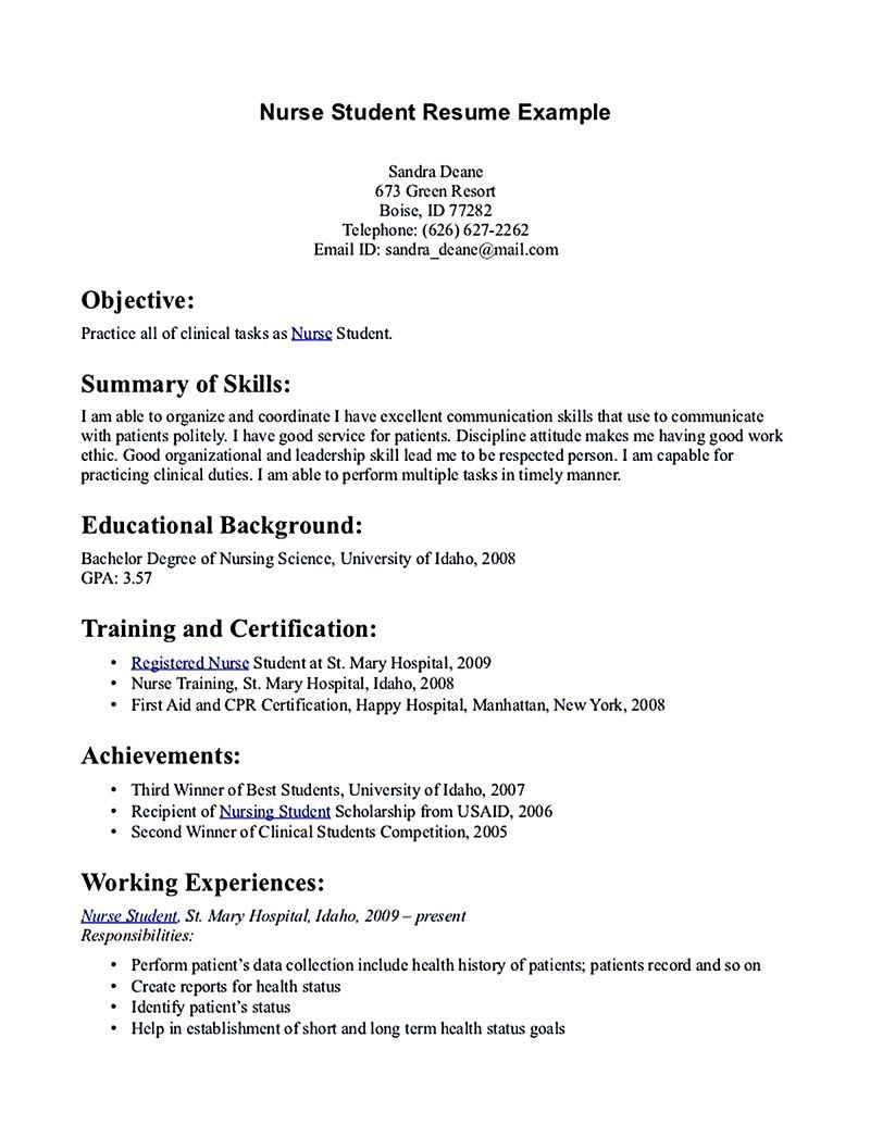 nursing student resume must contains relevant skills experience and also educational back Resume Nursing Student Resume Profile