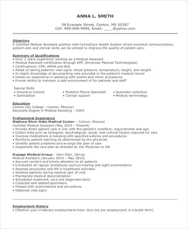 objectives for medical assistant resumes certified resume example patient care objective Resume Patient Care Assistant Resume
