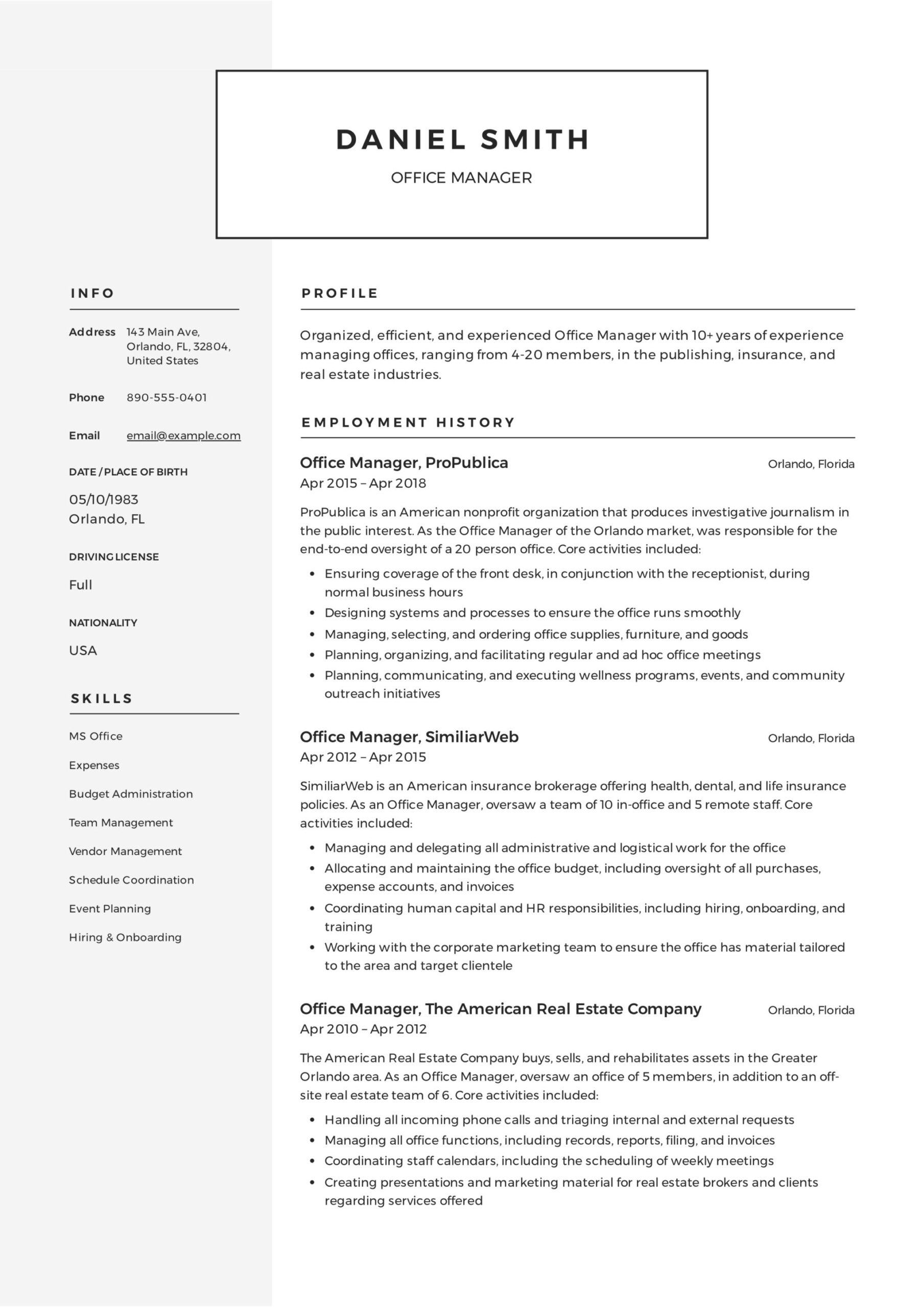 office manager resume guide samples pdf template for position sample quality engineer Resume Resume Template For Manager Position