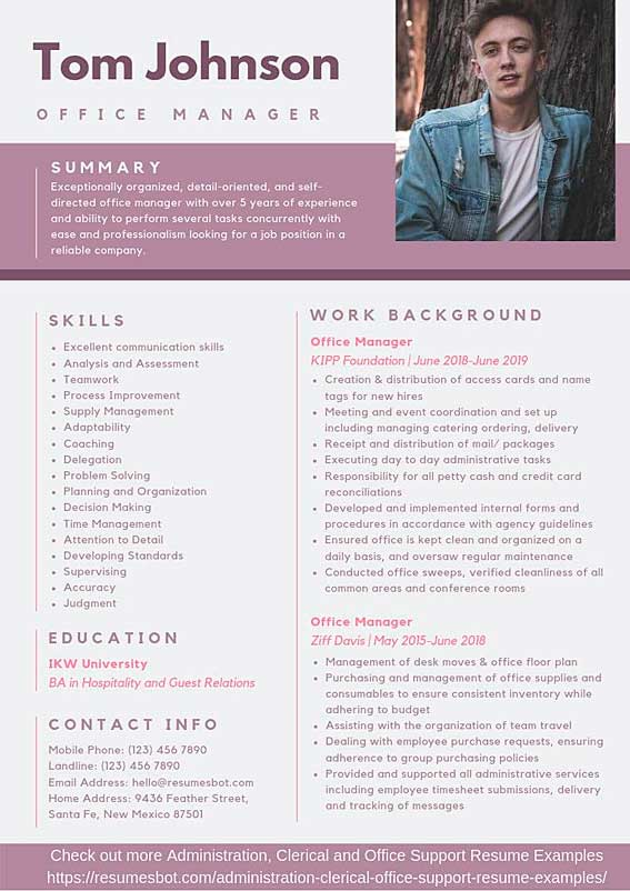 office manager resume samples templates pdf resumes bot example travel agent customer Resume Office Manager Resume Example