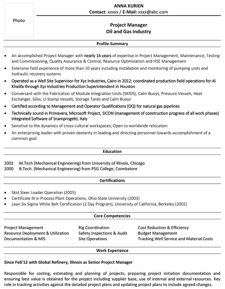 oil and gas cv format resume sample template field job project manager demonstrated Resume Oil Field Job Resume Sample