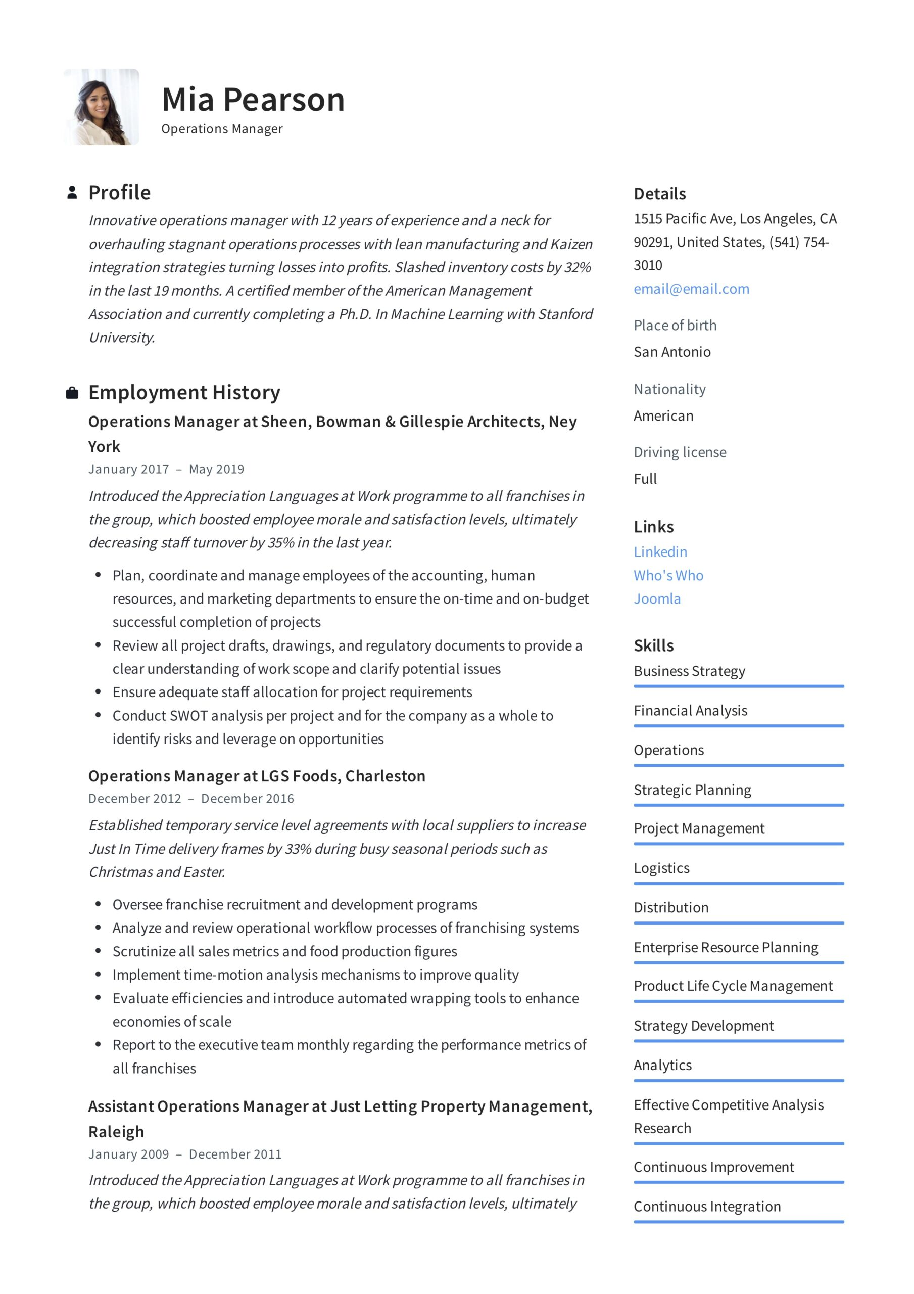 operations manager resume writing guide examples pdf sample example babysitting skills Resume Operations Manager Resume Sample