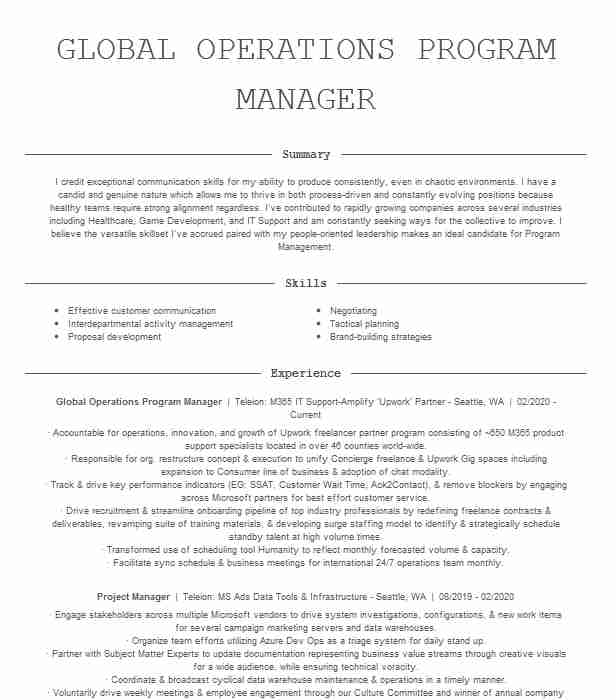operations program manager resume example microsoft redmond template objective for cruise Resume Program Manager Resume Template