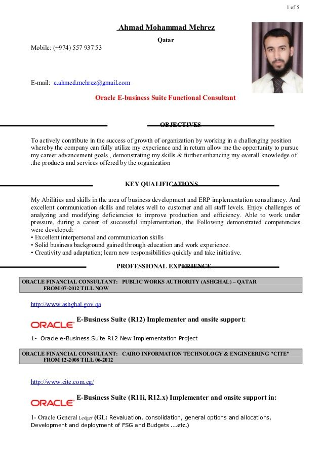 oracle financial consultant resume latest format sample general objective for any Resume Oracle Consultant Resume