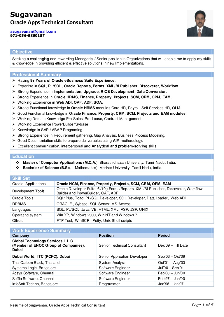 oracle scm functional consultant resume free templates of sugavanan apps technical best Resume Oracle Consultant Resume