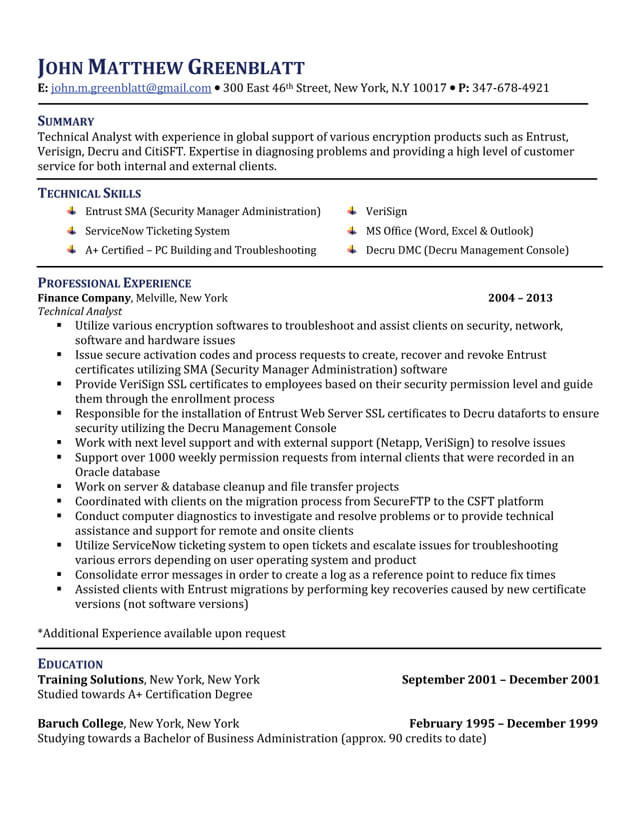 package five star resume baruch college template technical analyst fsr sam mensa on Resume Baruch College Resume Template