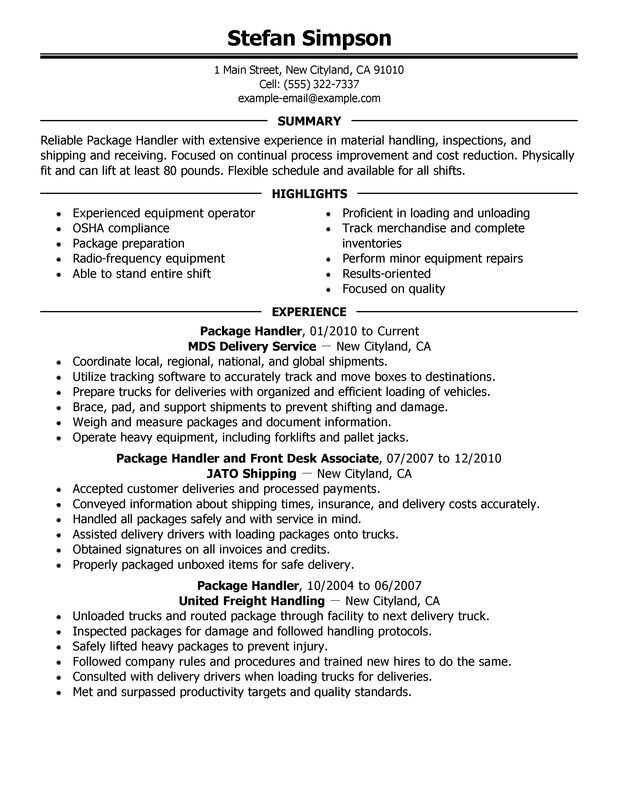 package handler resume examples free to try today myperfectresume warehouse material Resume Warehouse Material Handler Resume