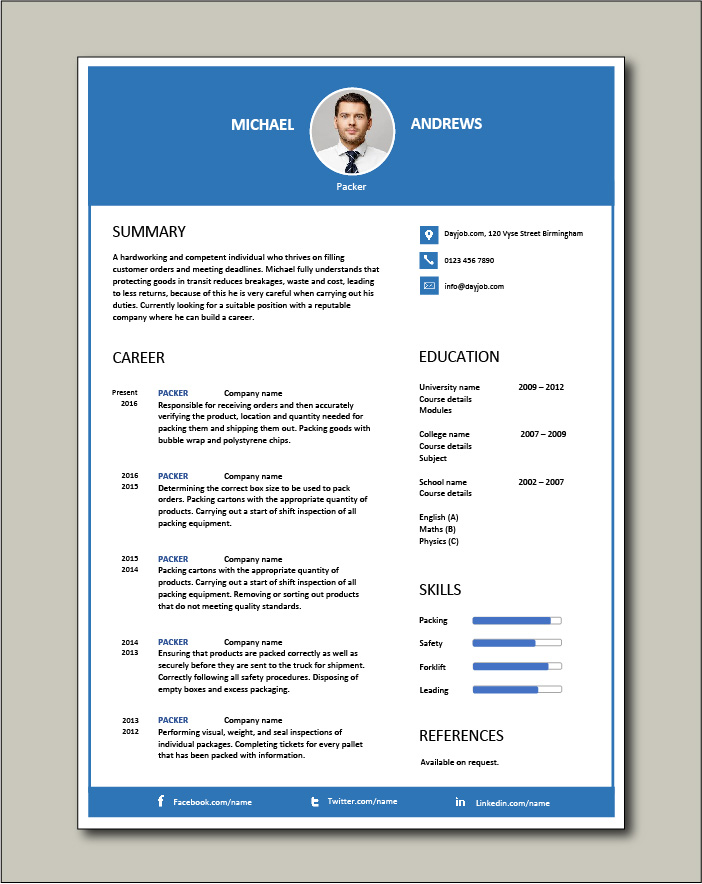 packer resume packing jobs sample manual courses training recruitment classified adverts Resume Picker Packer Job Description For Resume