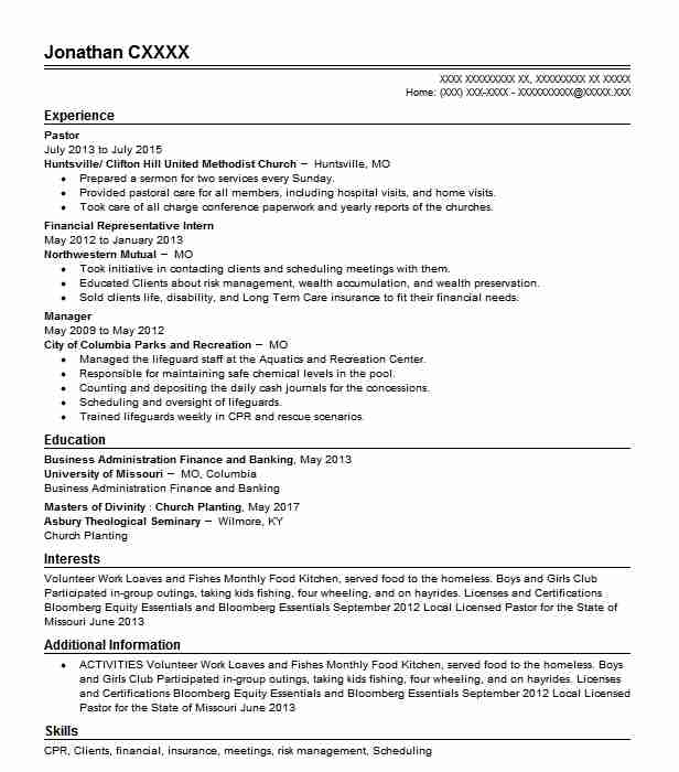 pastor resume example resumes misc livecareer ministry examples entry level accounting Resume Ministry Resume Examples